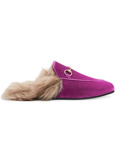 Gucci Pink Princetown velvet fur lined mules - Pink & Purple