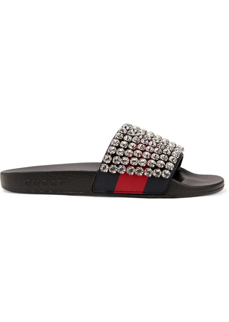 cb7aa1a3fe9 Gucci Pursuit crystal-embellished leather and rubber slides