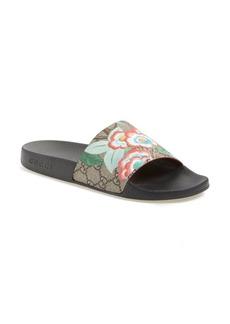 Gucci 'Pursuit' Floral Logo Slide Sandal (Women)