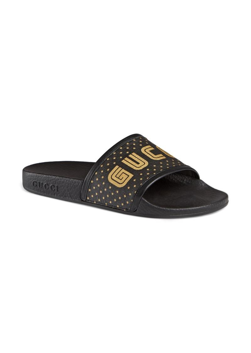 3b935565813 Gucci Gucci Pursuit Guccy Logo Slide Sandal (Women)