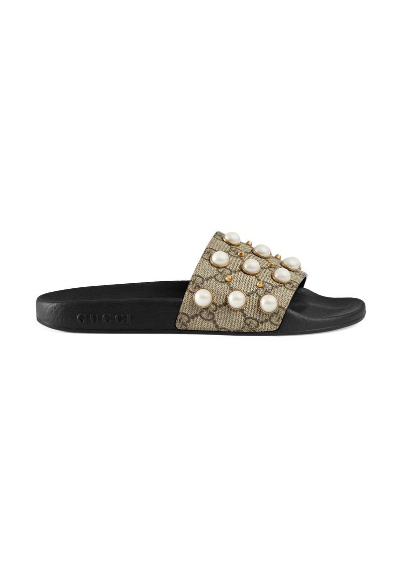 c78c9251e75 Gucci Gucci Pursuit Imitation Pearl Embellished Slide Sandal (Women ...