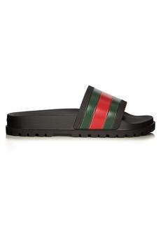 Gucci Pursuit web-striped rubber pool slides