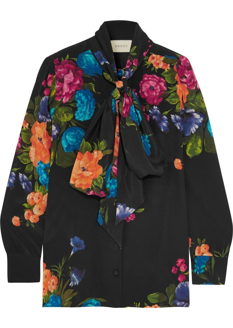 5a13201d316 Gucci Gucci Pussy-bow floral-print silk crepe de chine blouse ...