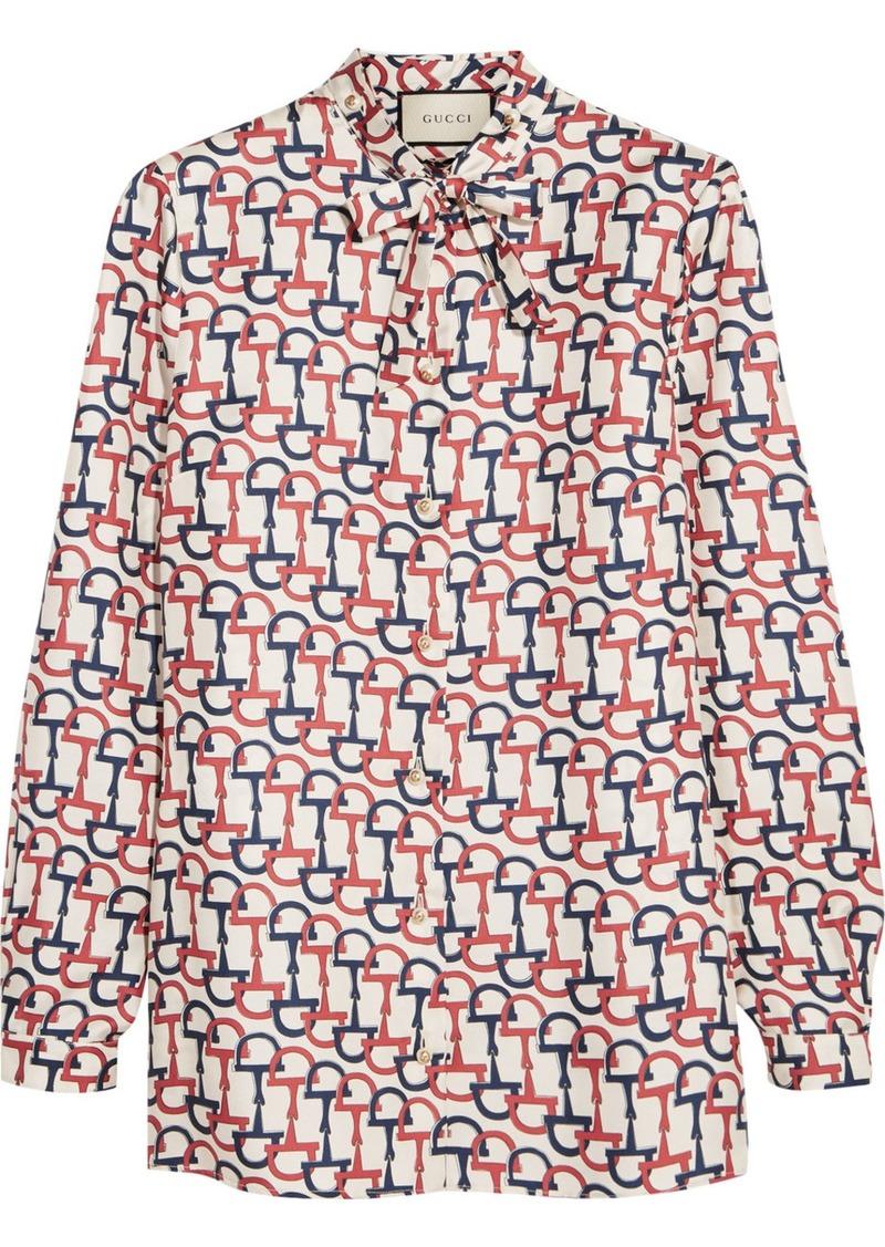 23e8141a4d6 Gucci Gucci Pussy-bow printed silk-twill blouse
