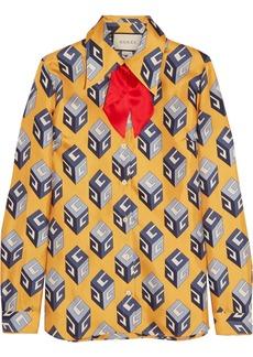 315754e339e Gucci Pussy-bow printed silk-twill shirt