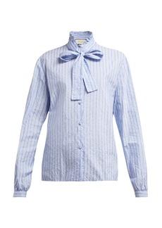 Gucci Pussy-bow striped logo-jacquard cotton shirt