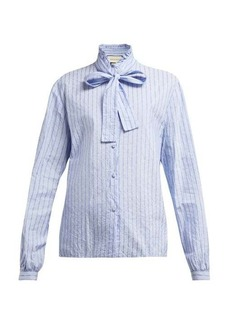 Gucci Pussy-bow striped logo-jacquard cotton shirt