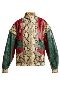 Gucci Python-print leather bomber jacket