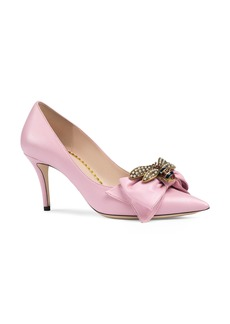 Gucci Queen Margaret Bee Bow Pointy Toe Pump (Women)