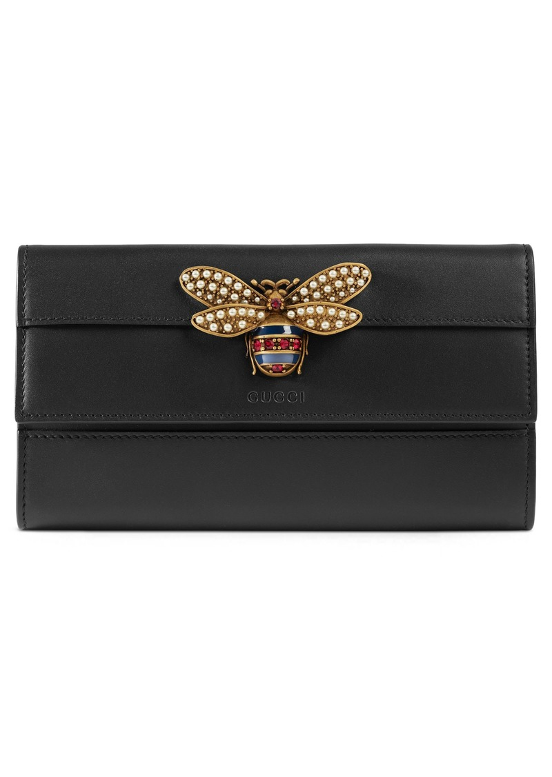 3ef0565cc21 Gucci Gucci Queen Margaret Leather Flap Wallet