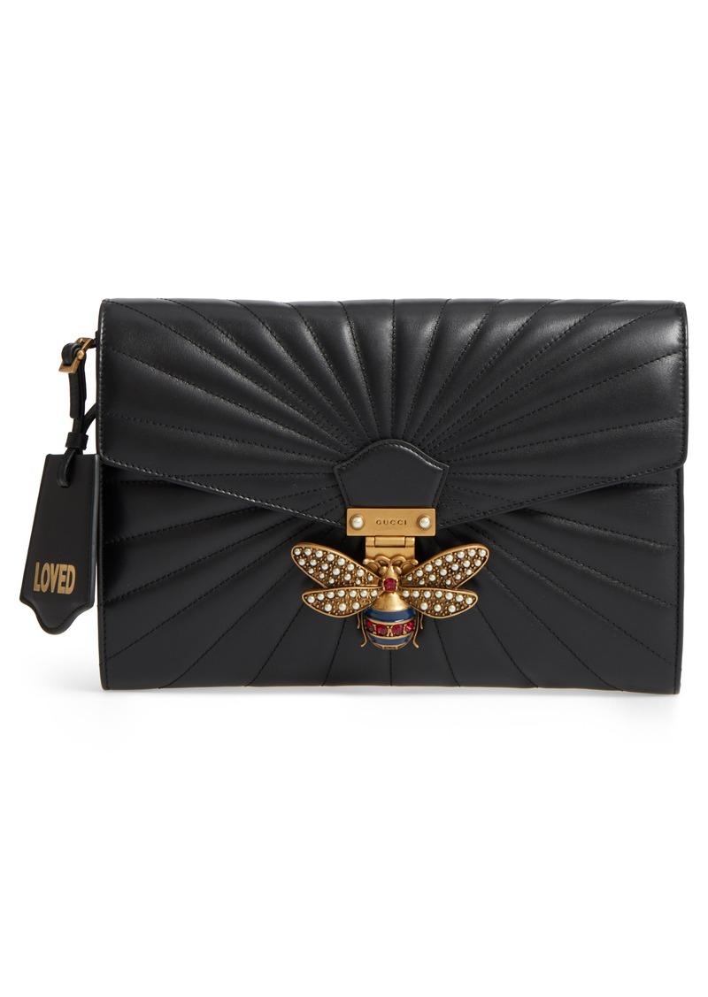 f0acc58108b Gucci Gucci Queen Margaret Matelassé Leather Clutch