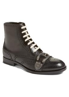 Gucci Queercore Buckle Strap Wingtip Boot (Men)