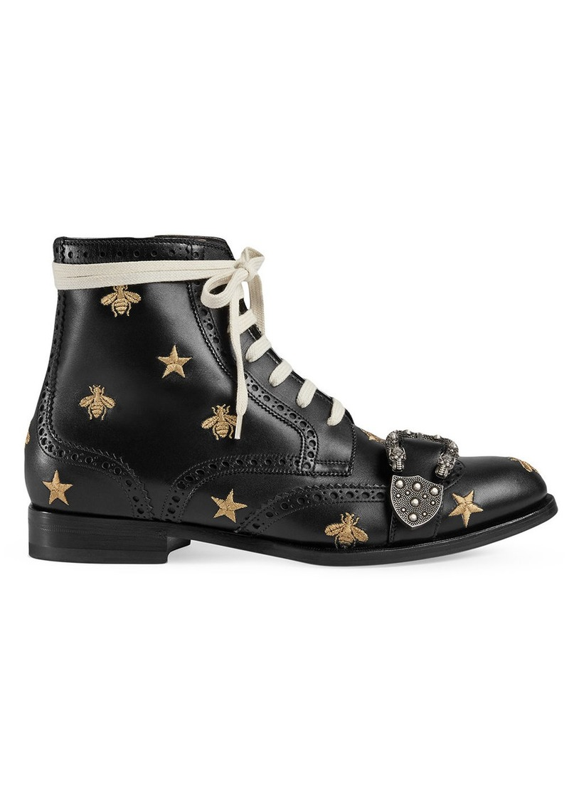 236ac358e49 Gucci Gucci Queercore embroidered brogue boot - Black