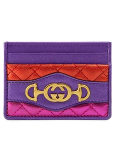 Gucci Quilted Metallic Leather Card Case