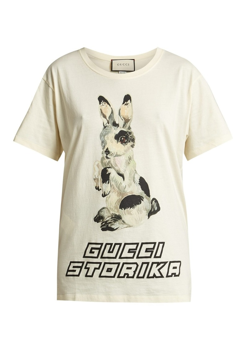6f65c7297 Gucci Gucci Rabbit-print cotton-jersey T-shirt | Casual Shirts