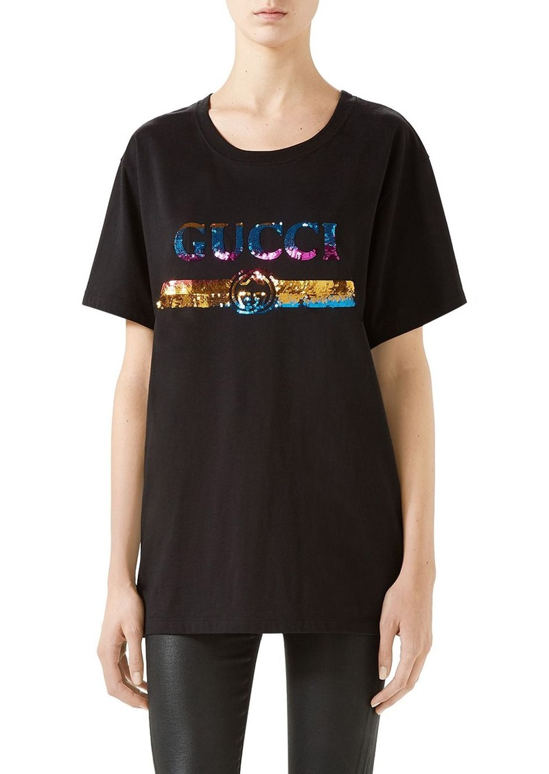 Gucci Rainbow Sequin Logo Tee