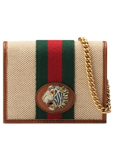 Gucci Rajah Calfskin Canvas Card Case on a Chain