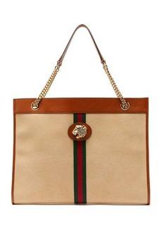 Gucci Rajah Web-striped canvas tote bag
