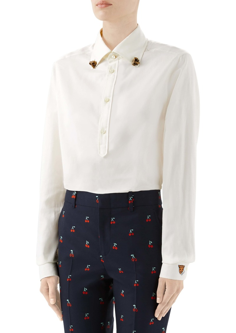 Gucci Ram Button-Down Collar Cotton Shirt
