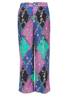 Gucci Rhombus and GG-print silk-satin trousers