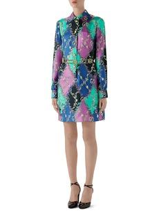 Gucci Rhombus Print Long Sleeve Silk Shirtdress