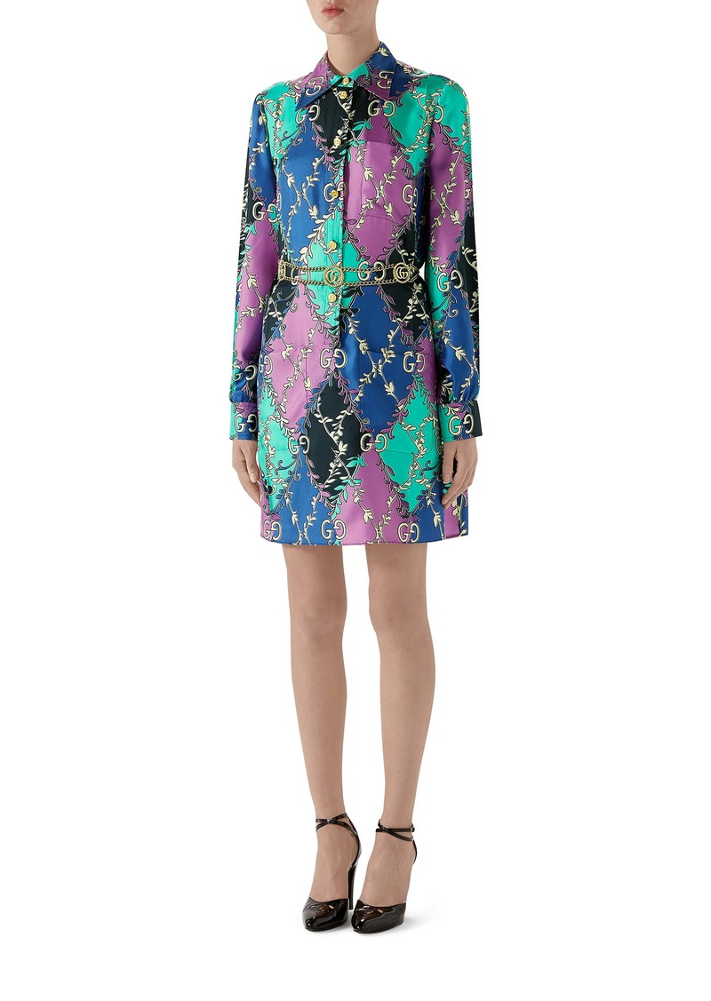 Gucci Rhombus Print Long Sleeve Silk Shirtdress