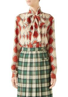 Gucci Rhombus Print Silk Tie Neck Blouse