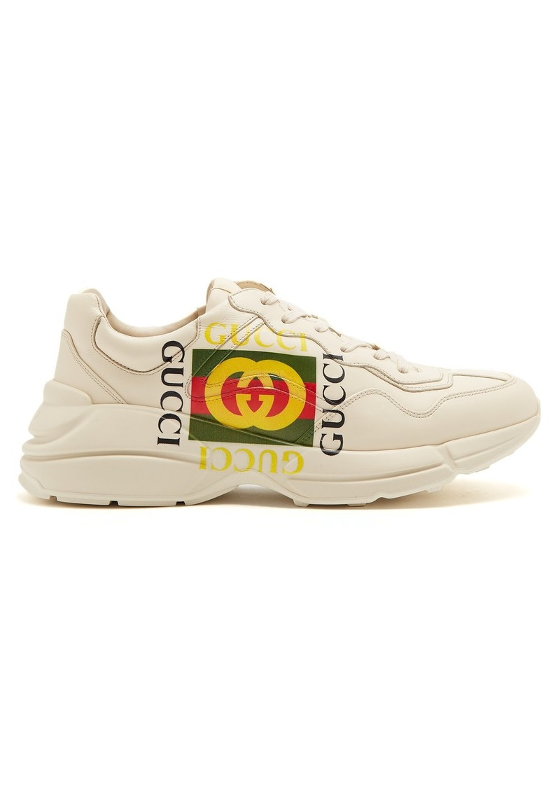 44139d2cfd19de Gucci Gucci Rhyton logo-print low-top leather trainers