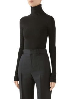 Gucci Ribbed Wool Blend Turtleneck Sweater