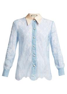 Gucci Ribbon-tie sheer Chantilly-lace blouse