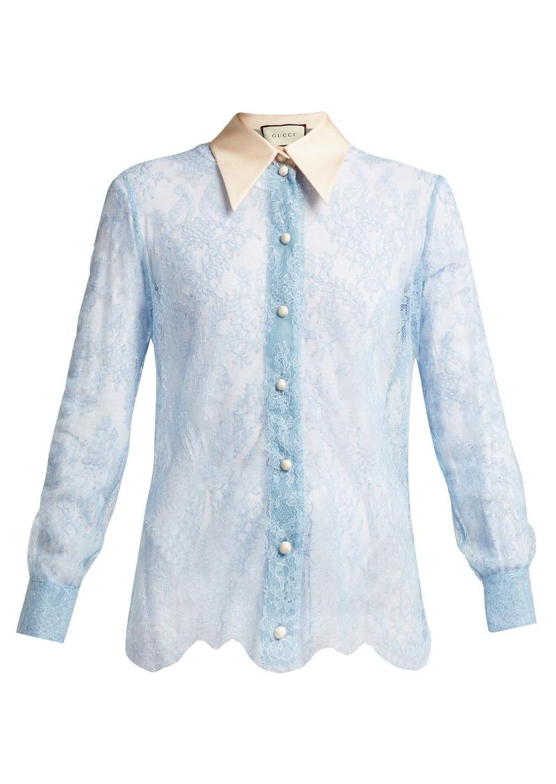3caed5869 Gucci Gucci Ribbon-tie sheer Chantilly-lace blouse | Casual Shirts