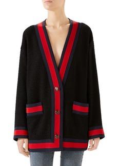 Gucci Ribbon Trim Tweed Cardigan