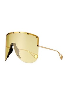 Gucci Rimless Shield Sunglasses w/ Star Studs