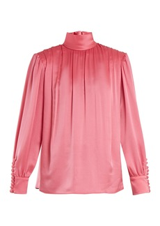 Gucci Roll-neck gathered silk-charmeuse blouse
