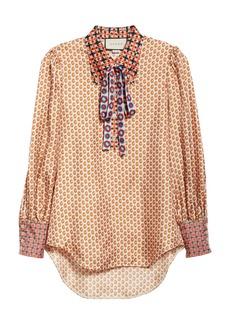 Gucci Romain GG Mixed Print Silk Twill Blouse