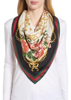 Gucci Rose Chain Foulard Silk Twill Scarf