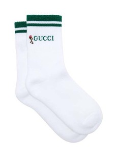 Gucci Rose-embroidered cotton-blend ankle socks