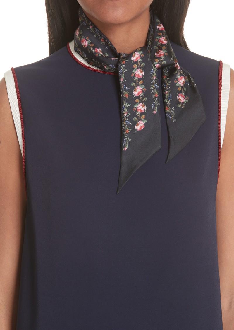 Gucci Rose Print Silk Neck Scarf
