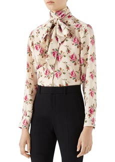 Gucci Rose Print Silk Tie Neck Blouse