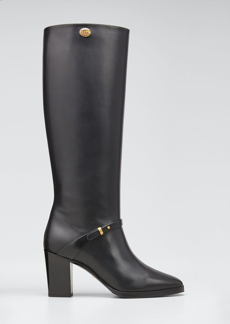 Gucci Rosie 75mm Leather Riding Boots