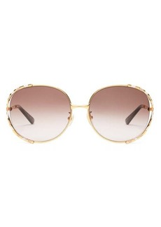 Gucci Round enamel and metal sunglasses