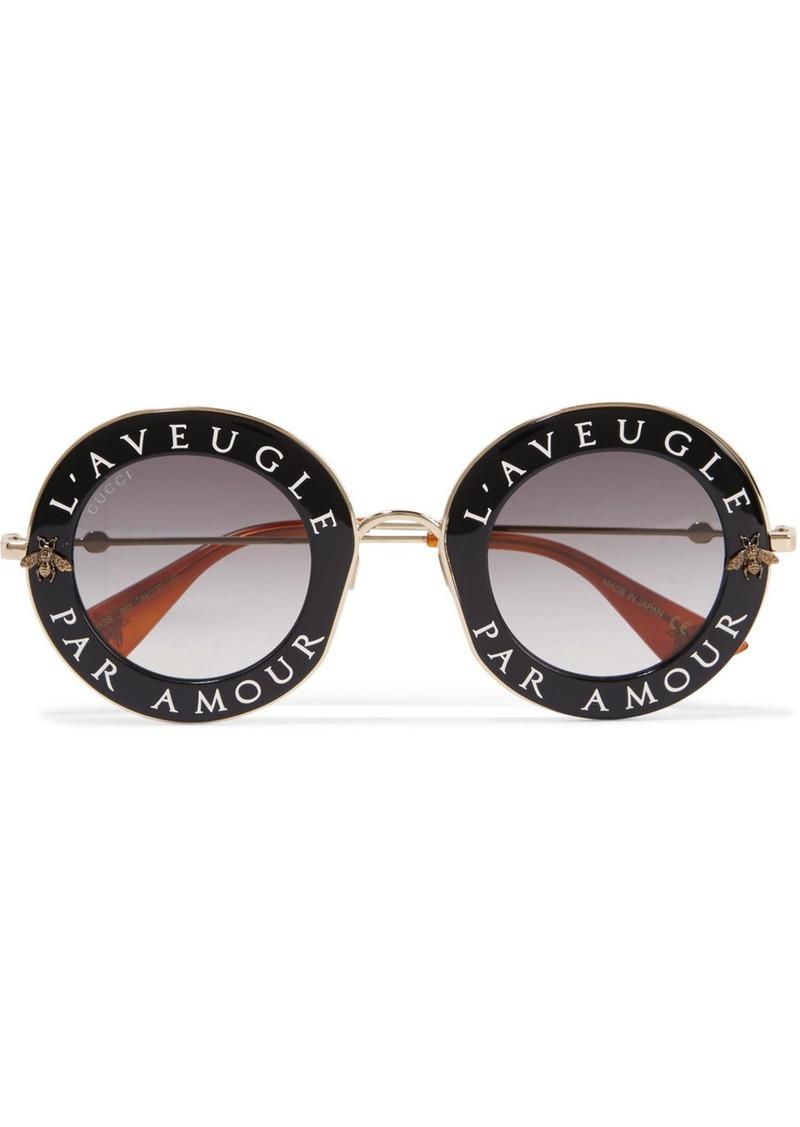 70925614515 Gucci Gucci Round-frame acetate and gold-tone sunglasses