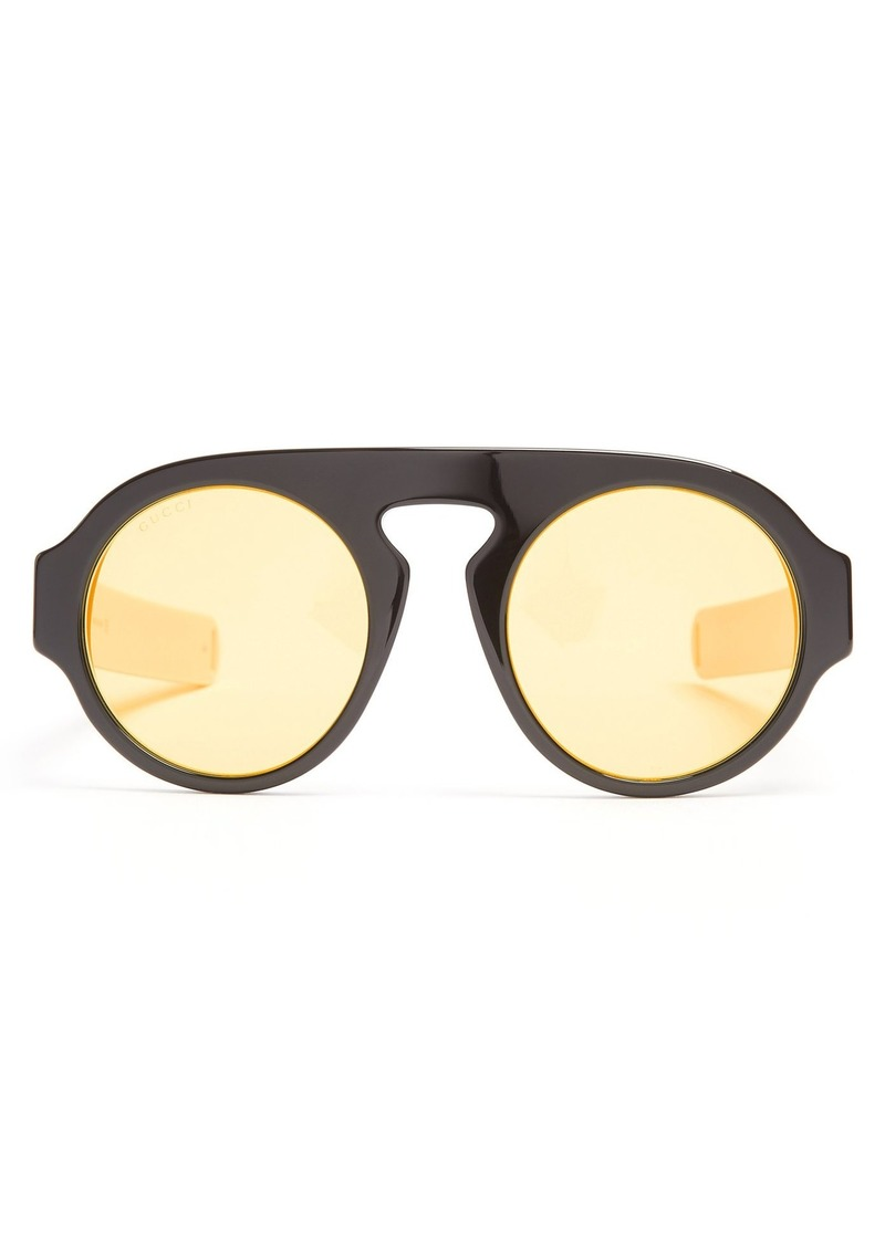 0729f0a3c2 Gucci Gucci Round-frame Web-striped acetate sunglasses