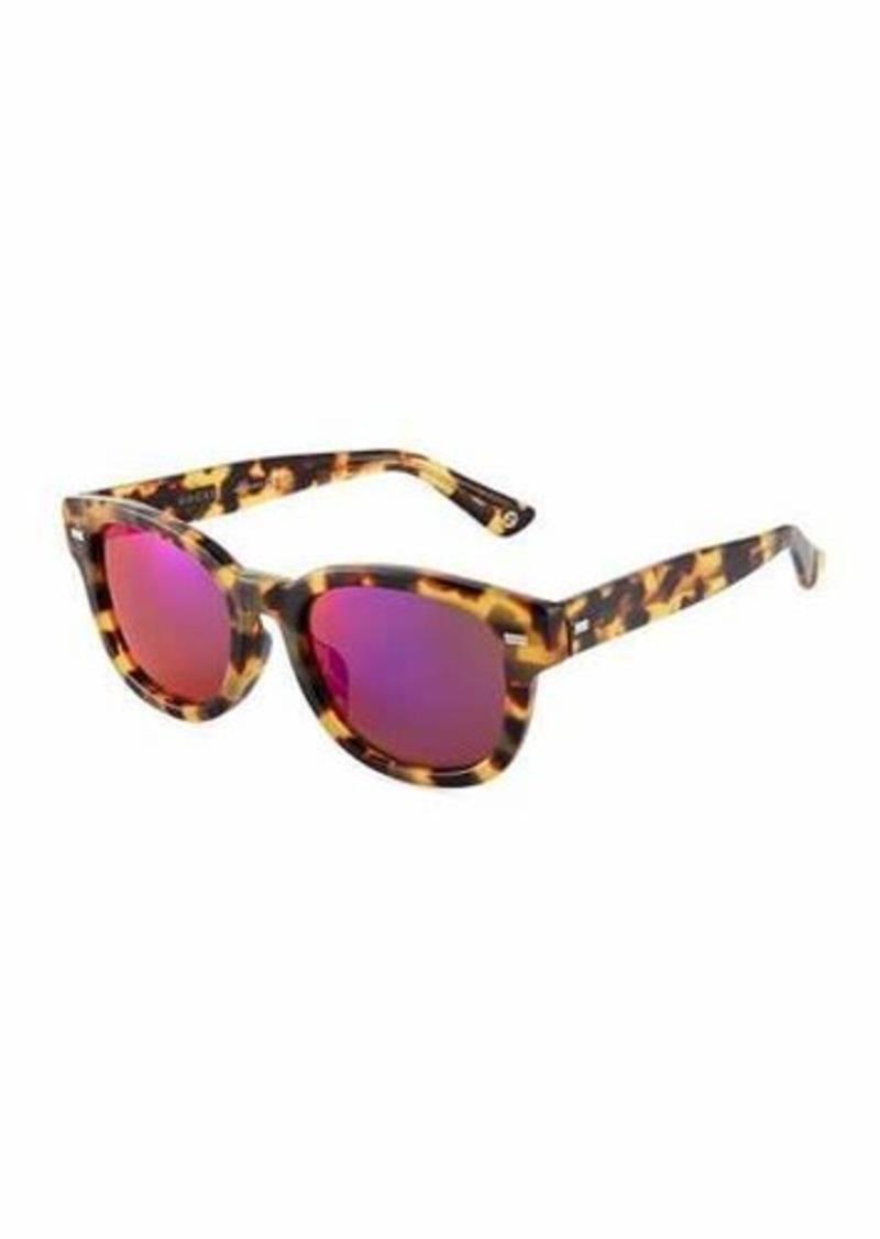 ce2808c117 Gucci Gucci Round Havana Plastic Sunglasses w  Mirror Lenses