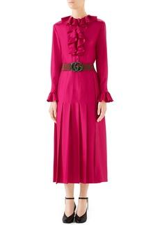 Gucci Ruffle Front Silk Twill Dress