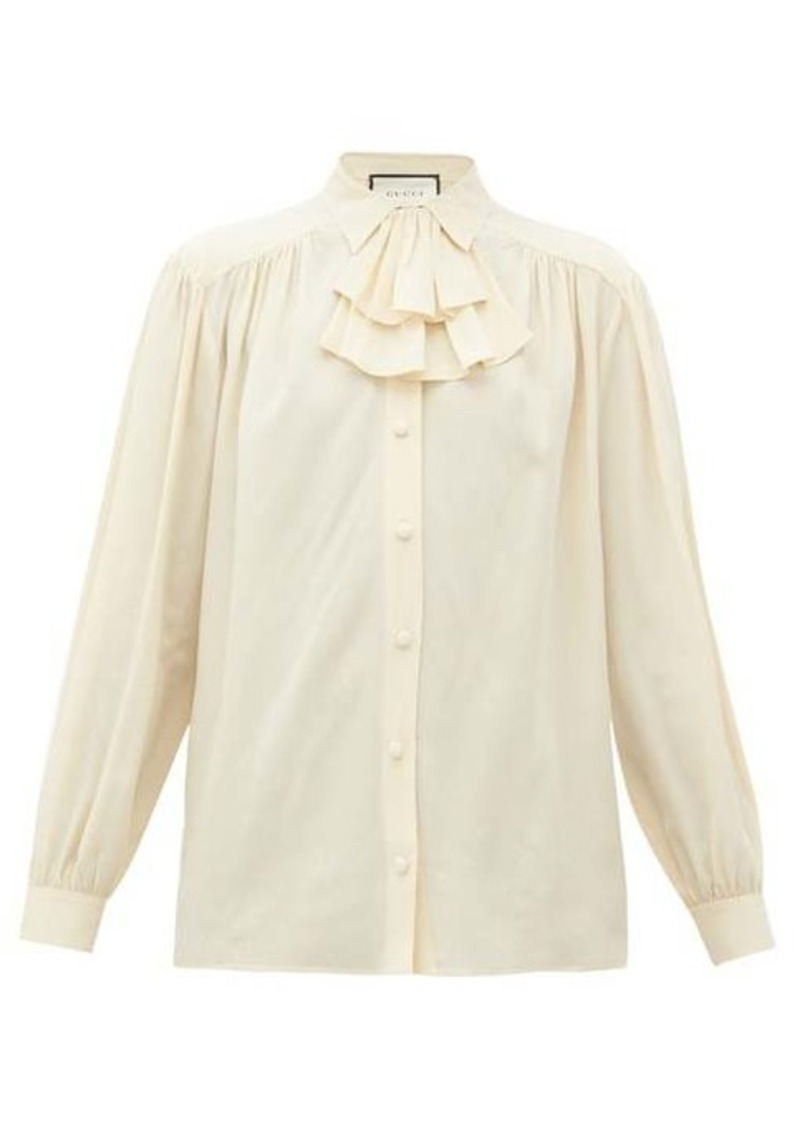 Gucci Ruffle-neck silk blouse