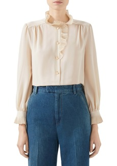 Gucci Ruffle Neck Silk Crêpe de Chine Blouse