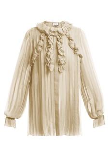 Gucci Ruffle-trimmed pleated silk-chiffon blouse