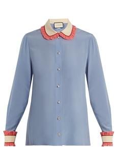 Gucci Ruffle-trimmed silk crepe de Chine shirt