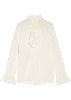Gucci Ruffled lace-trimmed silk-georgette blouse
